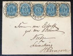 Danemark Letter N°23 (x5) 4S Bleu & Gris De Copenhague Pour L'Allemagne à Neetze Superbe !! - 1864-04 (Christian IX)