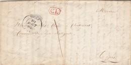 LAC TOURS Indre Et Loire 20/8/1841 Taxe Manuscrite 1 + Cachet CL Correspondance Locale Pour EV - Postmark Collection (Covers)