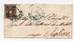 2740 - Granducato Toscana Governo Provvisorio - 10c. Bruno Su Busta - Anno 1860 - Toscana