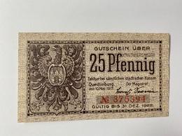 Allemagne Notgeld Quedlinburg 25 Pfennig - [ 3] 1918-1933 : République De Weimar