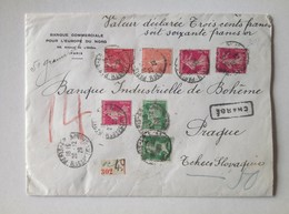 France 1929 Wax Sealed Cover Declared Value Paris To Prague Czechoslovakia - Storia Postale