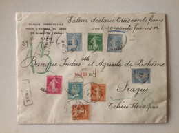 France 1929 Cover Declared Value Wax Sealed From Paris To Prague Czechoslovakia - Storia Postale