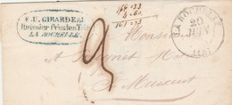 LSC LA ROCHELLE Charente Maritime 20/6/1841 Taxe Manuscrite à St Maixent ( 2 Cachets Différents ) - Postmark Collection (Covers)