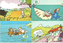 Cp, Publicité , Les Mutuelles Du Mans, En Vacances Aussi..., 2 Scans , Vierges , Humour , LOT DE 4 CARTES POSTALES - Advertising