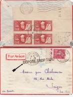 """LETTRE. 3 6 37. BLOC DE 4 DESCARTES. MONTLUCON POUR SAIGON INDO-CHINE. 3,65 Fr. GRIFFE """"DÉPOSÉ TROP TARD"""" - 1921-1960: Periodo Moderno"""