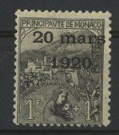 MONACO N° 42 Cote 95 €. 1Fr + 1Fr Noir Sur Jaune. Neuf * (MH). Série Du Mariage De La Princesse Charlotte. TB - Monaco