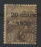 MONACO N° 41 Cote 70 €. 50ct + 50ct Orange. Oblitéré. Série Du Mariage De La Princesse Charlotte. TB - Monaco