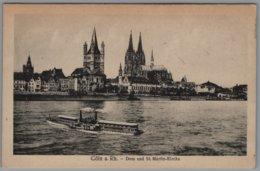 Köln - S/w Dom Und Sankt Martin Kirche   Feldpostkarte Verpflegungsstelle Cöln Deutz - Koeln