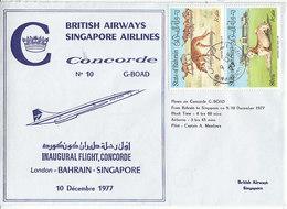 Concorde , Inaugural Flight  Bahrein - Singapore ,1977 , 2 Scans - Bahreïn (1965-...)