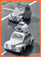 Automobile Citroen 2 CV  2cv Renault 4 CV Voiture Auto Carte Vierge TBE - Voitures De Tourisme