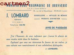 RIORGES MANUFACTURE ROANNAISE DE BROSSERIE J. LOMBARD 18 RUE REPUBLIQUE ENVOI MIZERIEUX 42 LOIRE - Riorges