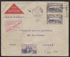1ER VOL AIR BLEU PARIS-LILLE 10/7/1935 + VIGNETTE GUYNEMER FM13 EQUIPAGE DELAGE-PAUZIE 1851 PLIS - Luftpost