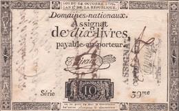 FAUX  ASSIGNAT DE DIX LIVRES 1792  L  AN 1° - Assignats & Mandats Territoriaux