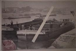 1908 Charenton Péniche à Quai Batellerie Batelier Bateau écrite à Rouen Envoyé à St Leu D'esserent Carte Photo - Guerra, Militari