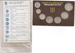 Israel - Set 7 Coins 1 5 10 25 1/2 Agorot 1 5 Sheqalim 1979 UNC Lemberg-Zp - Israel