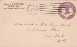 U.S.A. - ENTIRE ENVELOPE CIRCULATED 1894 BOSTON TO NEW YORK.  -LILHU - Enteros Postales