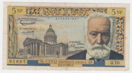 France 5 Noveaux Francs 1960 F+ Banknote Pick 141 - 5 NF 1959-1965 ''Victor Hugo''