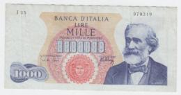 Italy 1000 Lire 1965 VF+ Verdi Pick 96c 96 C - [ 2] 1946-… : Républic