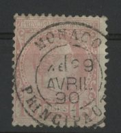 MONACO N° 5 Cote 45 €. 15ct Rose Type Charle III. Oblitération Très Bien Centrée Du 29/4/1890. TB - Monaco