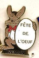 SP209 Pin's Village UZEMAIN Vosges Fête De L œuf Lapin Rabbit Achat Immédiat - Animaux