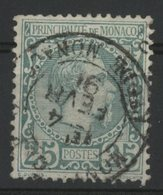 MONACO N° 6 Cote 90 €. 25ct Vert Type Charle III. Oblitéré En 1891. TB - Monaco