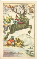 JOYEUX NOEL WEIHNACHTEN CHRISTMAS Illustrateur  BONNE ANNEE NAIN LUTIN  RENNE  1949 NEIGE - Santa Claus
