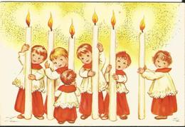 JOYEUX NOEL WEIHNACHTEN CHRISTMAS Illustrateur CP DOUBLE BONNE ANNEE ENFANT KINDER BOUGIE CP DOUBLE 1965 - Santa Claus