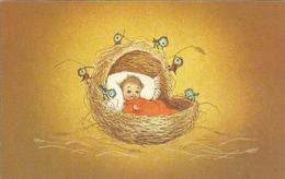 JOYEUX NOEL WEIHNACHTEN CHRISTMAS Illustrateur CP DOUBLE BONNE ANNEE ENFANT KINDER BEBE OISEAUX BERCEAU CP DOUBLE 1965 - Santa Claus