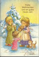 JOYEUX NOEL WEIHNACHTEN CHRISTMAS Illustrateur  BONNE ANNEE ENFANT KINDER SAPIN NEIGE CHAT VIOLON ANGE ENGEL - Santa Claus