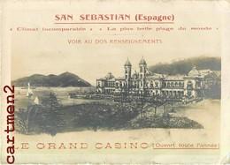 CARTE PHOTO : SAN SEBASTIAN LE GRAND CASINO PUBLICITE PROGRAMME 1914 ROULETTE GUIPUZCOA ESPANA - Guipúzcoa (San Sebastián)