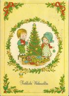 JOYEUX NOEL WEIHNACHTEN CHRISTMAS Illustrateur  ANNE LIESA BONNE ANNEE ENFANT KINDER SAPIN DE NOEL CADEAUX 1979 - Santa Claus