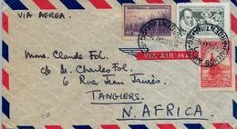 1947 , ARGENTINA , BUENOS AIRES - TÁNGER , VIA AÉREA , TRÁNSITO DE LISBOA Y LLEGADA A MARRUECOS , FR. BÁSICA , CERVANTES - Argentina