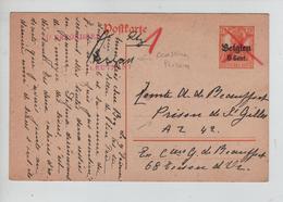 CBPND50/ Entier CP Annulé Par Croix De St.André Rouge ' ZU BEFÖRDERN > Prison  De St.Gilles Censure PRISON - Guerra '14-'18