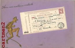 BELLE CPA GAUFREE : MANDAT DE POSTE DIABLE LYON PERRACHE SAINT-ETIENNE 1900 TIMBRE PHILATELIE - Briefmarken (Abbildungen)