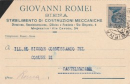 CARTOLINA POSTALE 1922 C.25 TIMBRO SIENA (KX136 - 1900-44 Vittorio Emanuele III