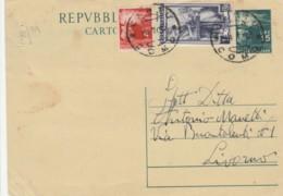 INTERO POSTALE 1952 15L.+1 ITALIA AL LAVORO (RARO SU BUSTA)+4 TIMBRO CANTU' COMO (KX148 - 6. 1946-.. Repubblica