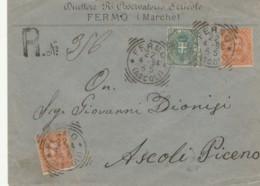 RACCOMANDATA 1894 2X20+5 TIMBRO FERMO ASCOLI -REGIO OSSERVATORIO BACOLOGICO (KX246 - 1878-00 Umberto I