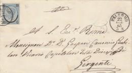LETTERA 1865 20 C. FERRO CAVALLO III TIPO TIMBRO PALERMO GIRGENTI (KX247 - 1861-78 Vittorio Emanuele II