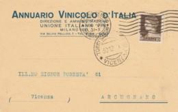 CARTOLINA POSTALE 1931 C.10 ANNUARIO VINICOLO TIMBRO TORRI DI ARCUGNANO (KX271 - 1900-44 Vittorio Emanuele III
