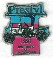 Pin's Voiture Automobile Prestyl 1991 Centenaire De L'automobile Tacot (bleu Et Rose) - Pin