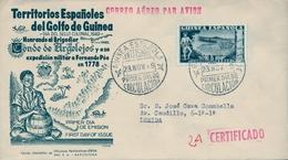 1949 , GUINEA ESPAÑOLA , ED. 276 , SOBRE DE PRIMER DIA CERTIFICADO POR AVIÓN , LLEGADA , DIA DEL SELLO - Guinée Espagnole