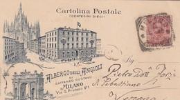 MILANO-ALBERGO DEGLI ANGIOLI-GRUSS MULTIVEDUTE- CARTOLINA VIAGGIATA IL 10-9-1898 - Milano (Milan)