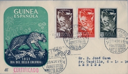 1951 , GUINEA ESPAÑOLA , ED. 306 / 308 , SOBRE DE PRIMER DIA CERTIFICADO , LLEGADA AL DORSO , DIA DEL SELLO , FELINOS - Guinea Spagnola