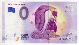 2019-1 BILLET TOURISTIQUE 0 EURO SOUVENIR N°UEPK004733 SEA LIFE PARIS MANCHOTS - EURO