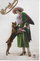 Beauceron,  Chien De Berger - De La Beauce Or Dobermann Pinscher With Elegant Woman, Femme, Frau, Hund, Dog, Perro - Perros