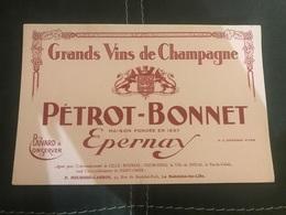 A BUVARD Ancien VIN DE CHAMPAGNE PERROT BONNET EPERNAY P.MEURISSE CARRON - Non Classés