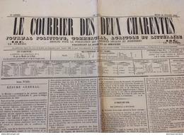 1864 LE COURRIER DES DEUX CHARENTES - LE VINAGE DES VINS - PONS - BERNARD PALISSY - RIOUX Etc ..... - Journaux - Quotidiens
