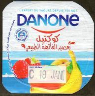 "Opercule Cover Yaourt Yogurt "" Danone "" Cocktail Yoghurt Yoghourt Yahourt Yogourt - Arabic Script - Opercules De Lait"