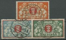 Danzig 1923 Freimarken Staatswappen 147/49 Gestempelt, Massenentwertung - Danzig