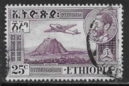 Ethiopia Scott # C25 Used Airplane Over Volcano, 1952 - Ethiopia